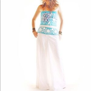Wide Leg Palazzo Pants Mexican Embroidered